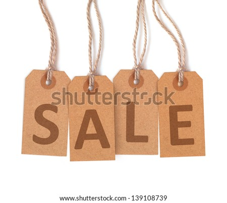 """Brown tags lettering """"sale"""" isolated on white background - stock photo"""