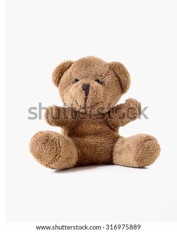 brown teddy bear isolated on white . - stock photo