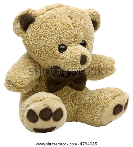 Brown Teddy Bear - isolated on white - stock photo