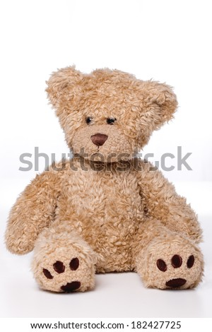 brown teddy-bear isolated on white background - stock photo
