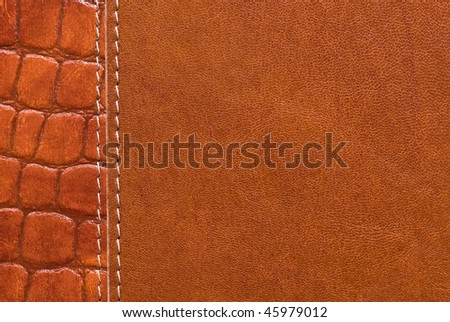 Brown textured leather surface - stock photo