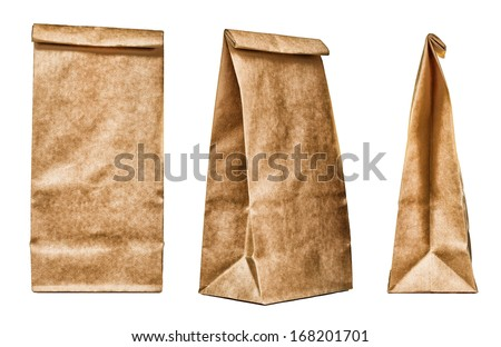 Brown textured paper bag set isolated on white background - stock photo