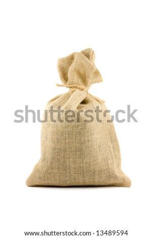 Brown textured sack. Isolated on white - stock photo