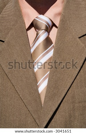 brown tie and brown suit - stock photo