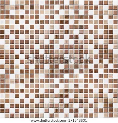 brown tiled bathroom, kitchen or toilet tile wall background - stock photo