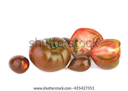 Brown tomatoes isolated on white background - stock photo