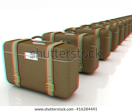 Brown traveler's suitcases on a white background. 3D illustration. Anaglyph. View with red/cyan glasses to see in 3D.