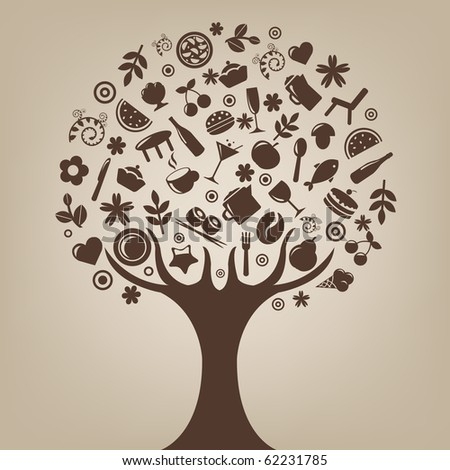 Brown Tree Made Of Products And Subjects Of Restaurant Icons - stock photo
