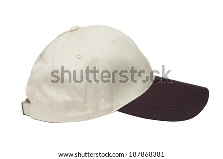 brown two tone baseball caps isolated on white background - stock photo