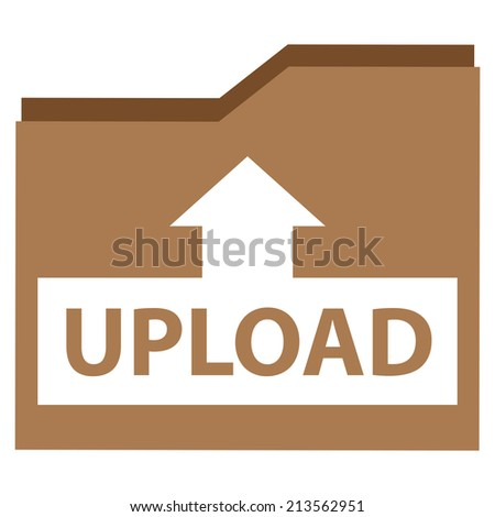 Brown Upload Document Icon, Sign or Button Isolated on White Background  - stock photo