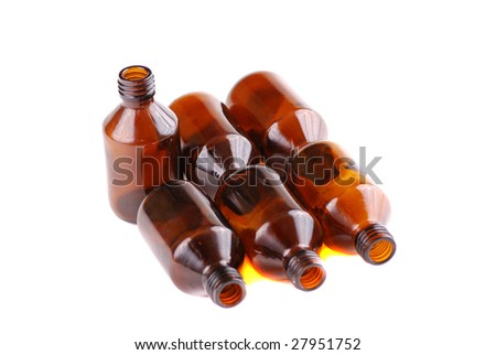 Brown vials for storage of medical preparations and chemical reactants.
