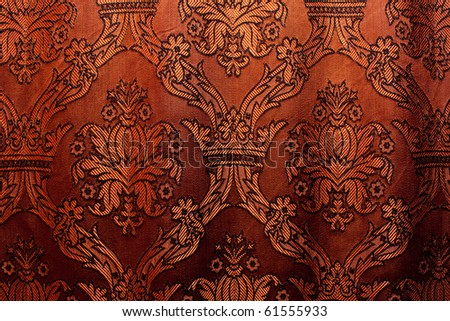 brown vintage curtain as background - stock photo