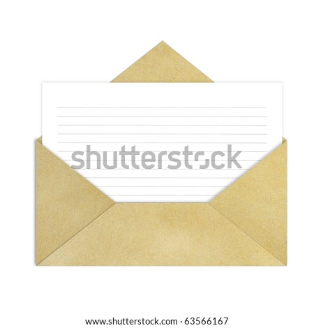 Brown Vintage Envelope with blank note paper on white.