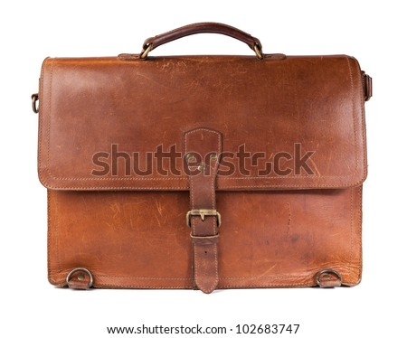 Brown Vintage leather briefcase with strap and brass buckle, clipping path included
