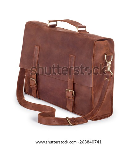 Brown Vintage leather briefcase with strap and brass buckle, clipping path included - stock photo