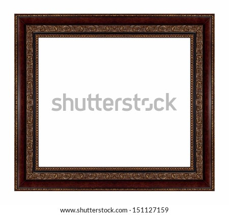 Brown vintage picture frame isolated on white background. - stock photo