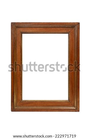 brown vintage picture frame isolated on white background