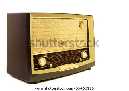 brown vintage radio - stock photo