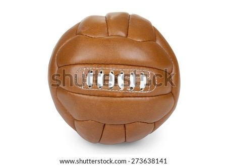 Brown vintage soccer ball on white background - path included - stock photo