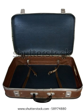 Brown vintage suitcase. Isolated over white background - stock photo