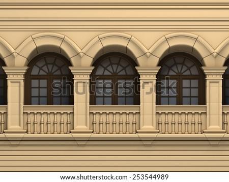 Brown Vintage Windows Arc - stock photo