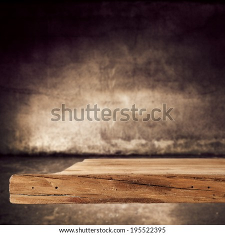 brown wall brown desk and shadow  - stock photo