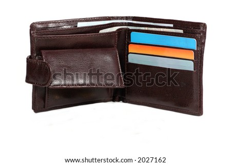 brown wallet with cards and coins isolated on white background