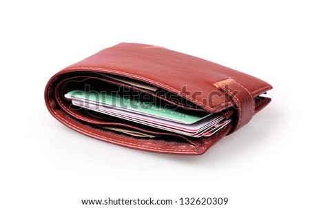 brown wallet with credit cards on a white background - stock photo
