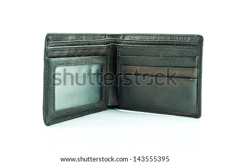 brown wallet with credit cards on a white background