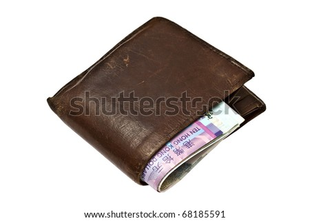 Brown wallet with ten HK Dollars isolated on white