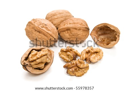 brown walnuts isolated on white background - stock photo