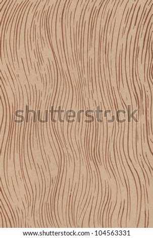 Brown waves hand drawn on recycled paper - stock photo