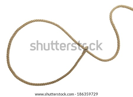 Brown Western Cowboy Lasso Rope Isolated on White Background. - stock photo