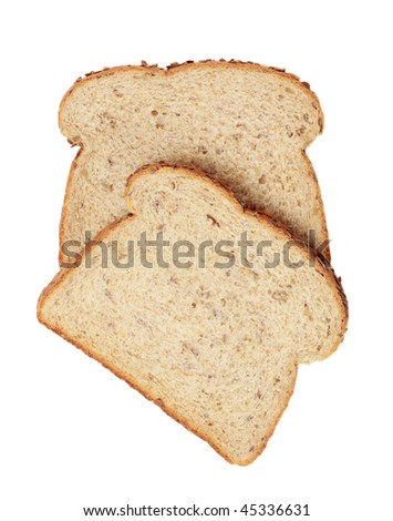 brown whole grain bread isolated on white