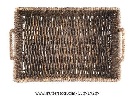 Brown wicker basket, box shaped, isolated over white background, top view - stock photo