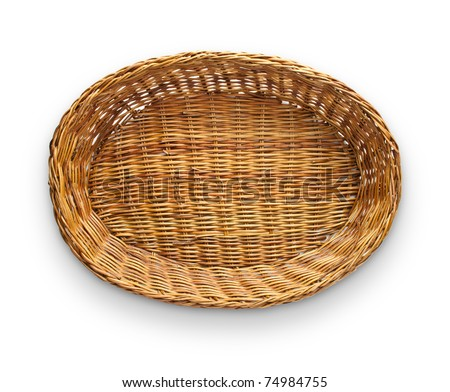 Brown wicker basket top view isolated on white background - stock photo