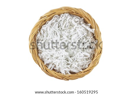 Brown wicker basket top view isolated with clipping path  - stock photo