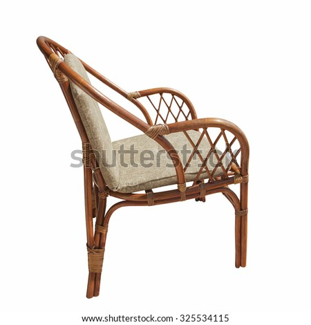 Brown wicker chair isolated over white background