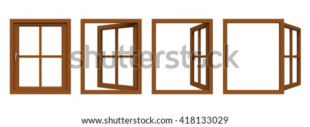 Brown window frame isolated on white background. 3D illustration.