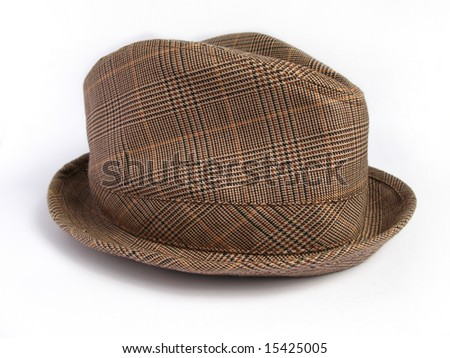 Brown Winter Plaid Hat on White Background
