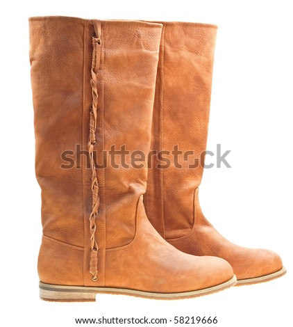 Brown woman boots isolated on white background - stock photo