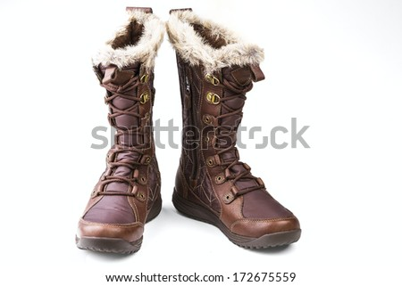 brown women's boots isolated on white background