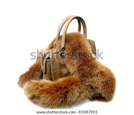 brown womens bag with  fur  on white