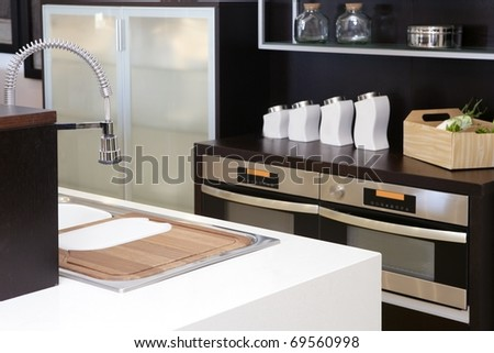 Brown wood kitchen modern stainless steel decoration house - stock photo