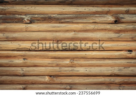 Brown wood log wall texture background - stock photo