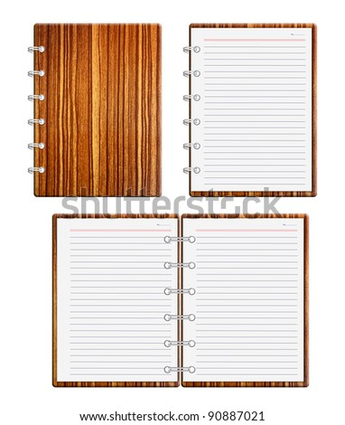 Brown wood notebook on white background