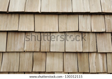 brown wood roof shingles - stock photo
