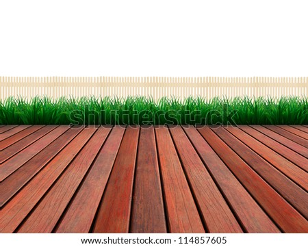 brown wood terrace and green grass white fence - stock photo