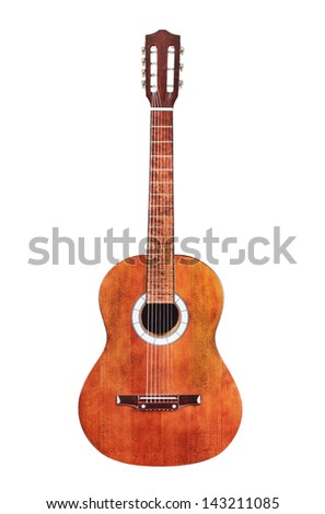 Brown wooden acoustic guitar isolated on white background