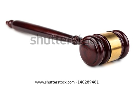 Brown wooden auction or judges gavel isolated on white background - stock photo